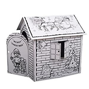 Kids Folding Cardboard Paper House Coloring Walk in Playhouse Kit- Christmas
