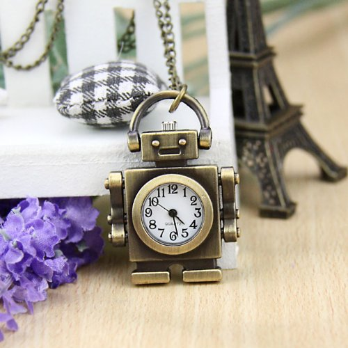 HOTER Robot Lovely Style Delicate Design Pocket Watch with Chain, Gift Idea