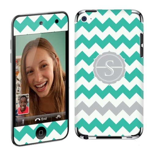 Skinguardz Vinyl Decal Sticker Skin For Apple Ipod Touch 4G (4Th Generation) - Mint Chevron Monogram Initial S back-228302