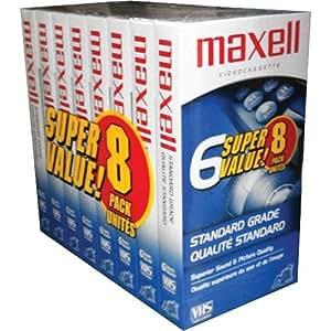 Maxell 214150 T120GX/8PK VHS Cassette Standard Grade T-120, 6 Hour - 8 Pack