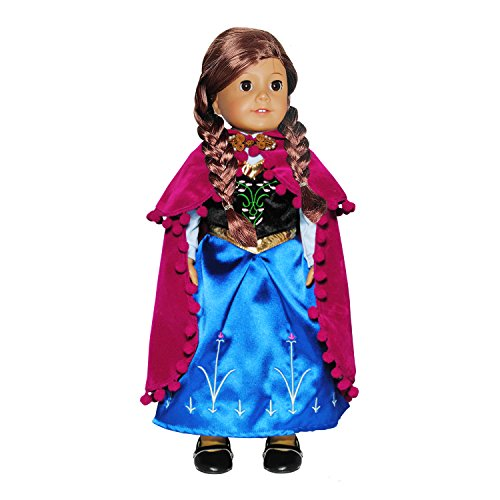 Doll Clothes Princess Anna Dress Outfit With Embroidered