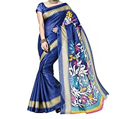 RGR Enterprice Woman's Bhagalpuri Designer Saree (simran blue_Multi-Coloured_Free Size)