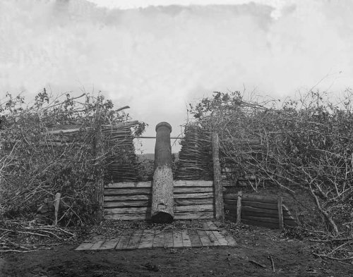 1862 Photograph of a Quaker Gun at Centreville, Virginia from Steroegraphs by George Barnard