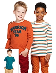 3 Pack Cotton Rich Striped Warrior T-Shirts