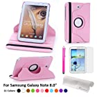 Foxnovo® Samsung Galaxy Tab PU Leather Case & Stylus Pen & Screen Guard & Cloth Set (Samsung Galaxy Note 8.0 N5100 / N5110 / N5120, Pink)
