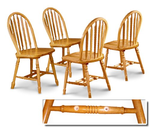 cheap set of 4 four oak stained arrow back dining chairs review