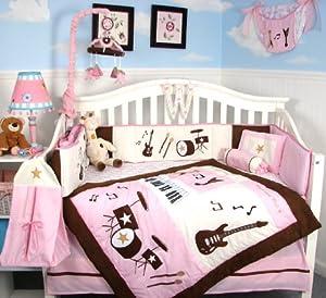 Soho pink and brown rock band baby crib for Rock n roll baby crib set
