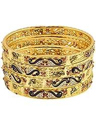 Zeneme Dancing Gold Plated Brass Bangles Jewellery For Women / Girls