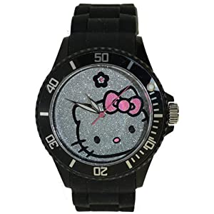 Hello Kitty Pave Black Plastic Watch