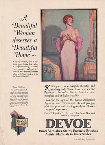 A Beautiful Woman deserves a Beautiful Home Devoe Paint ad 1925 Hayden Hayden (Devoe Paint compare prices)