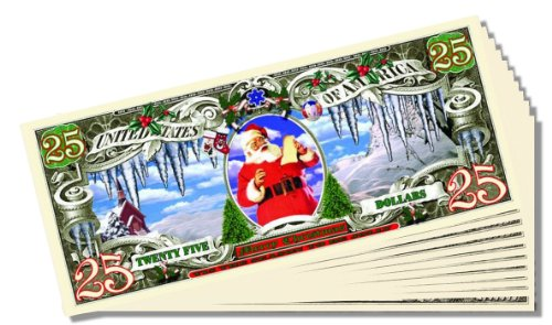 $25 Christmas Dollars Novelty $25 Bill - 25 Count with Bonus Clear Protector & Christopher Columbus Bill