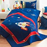 Riva Home Kids Rocket Applique Embroidered Bedspread, Blue, 150 x 200 Cm