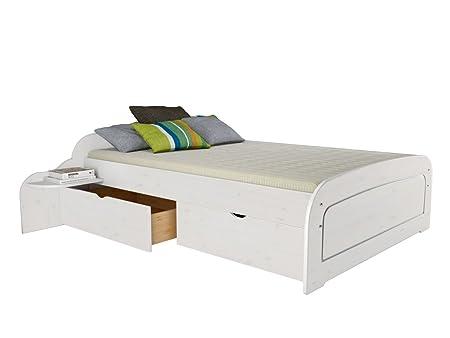 Bett RONJA ohne/ mit Schubladenset und 2 Stellfläche in verschiedener Größe 140x200, 160x200, 180x200 (Set 160x200, weiß)