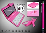 (Pink) 8 Inch Leather Keyboard Kick Stand Case + HSINI Pink Stylus Pen + 5 pin OTG Cable for Android Tablet Epad Apad - Pink