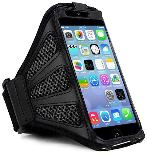myLife Stealth Black Flex Mesh {Rain Resistant Velcro Secure Running Armband} Dual-Fit Jogging Arm Strap Holder for iPhone 5|5S|5C and iPod 5 (5G) 5th Generation by Apple All Ports Accessible waterproof bag pouch w armband neck strap for iphone 5 5c translucent blue black