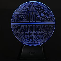 3D Illusion Death Star Lamp Acrylic LED Night Light Micro USB Table Desk LampGY#583-4 6-DFG261020