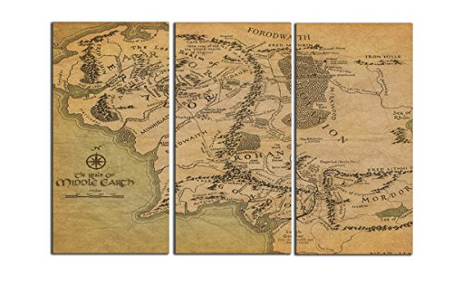 The Middle Earth Map Wall Art Print On Stretched And Framed Import
