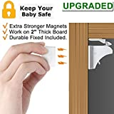 Child Safety Magnetic Cabinet Locks - VMAISI 4 Pack Adhesive Baby Proofing Cabinets & Drawers Latches (Color: White, Tamaño: 4 Locks, 1 Key)
