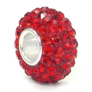 Swaroski Ruby Red Crystal Ball Bead Sterling Silver Charm Fits Pandora Chamilia Biagi Trollbeads European Bracelet