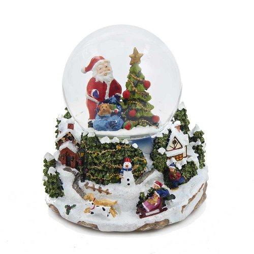 Kurt Adler Battery Operated Musical Led Santa And Tree Water Globe, 100Mm