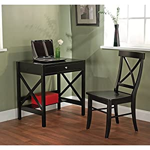 This beautiful 2-piece office table & chair set is perfect for any small area to get work done. The desk has a drawer and a lower shelf ideal for storing books and office supplies.