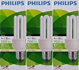 3 x Philips GENIE 18W (=82W Equivalent, Replaces 100W) E27 ES CFL Energy Saving Light Bulb, Edison Screw, 1100 Lumen, 10 Years, 827 2700K Warm White Compact Fluorescent 4U Stick Lamp, RAPID START