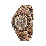 Greentreen Herrenuhr 3ATM Wasserdichte Multifunktionale Chronographen Armbanduhr 46mm Braun Zebra Holz Uhren Anzeigen 24 Stunden Woche Datum