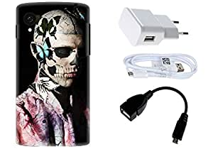 Spygen LG Google Nexus 5 Case Combo of Premium Quality Designer Printed 3D Lightweight Slim Matte Finish Hard Case Back Cover + Charger Adapter + High Speed Data Cable + Premium Quality OTG