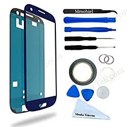 Samsung Galaxy S3 Blue Display Touchscreen replacement kit 12 pieces incl tools / pre cut Sticker / cleaning cloth / suction cup / wire MMOBIEL