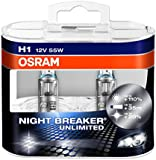Osram 64150 Night Breaker Unlimited Lámpara Halógena de Faros, P14.5s, 55 W, 12 V, 2 Unidades