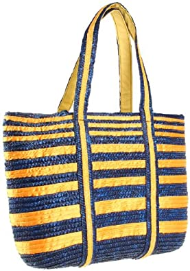 Magid Stripe M913 Tote,Navy/Yellow,One Size