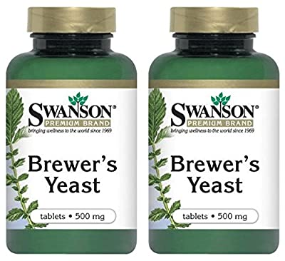 Swanson Premium Brand Brewer's Yeast 500mg -- 2 Bottles each of 500 Tablets