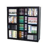 【新書版コミックス、DVDも収納可能! 】 スライド方式でマルチに収納! たっぷり収納本棚 ブラック 90cm 92018 【18574】
