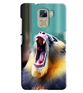 Blue Throat Monkey Shouting Hard Plastic Printed Back Cover/Case For Huawei Honor 7]