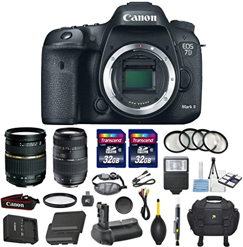 Canon EOS 7D Mark II 20.2MP CMOS Digital SLR DSLR Camera Bundle with Tamron AF 28-75mm f/2.8 Autofocus Lens & Tamron Auto Focus 70-300mm f/4.0-5.6 Di LD + Accessory Kit (17 items) (Canon 7d Mark Ii For Dummies compare prices)