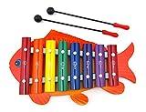 BASE GEAR(ベースギア) キッズ用 おもちゃの鉄琴 おさかな シロフォン (赤)