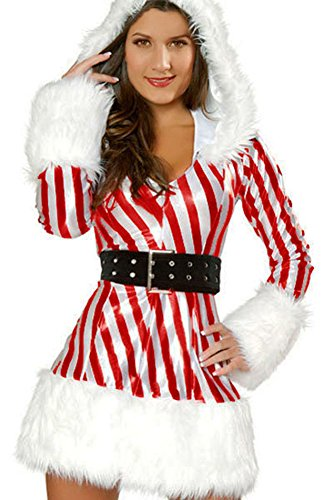 Yoyo Women's Sexy Cute Candy Cane Christmas Costume Feathers Sashes O-Neck