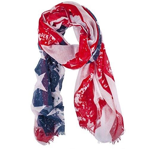 Lux accessori americana Bandiera Americana 4luglio Chiffon Sciarpa Faded