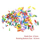 MOJITO LIVING 50pcs Brads And 50pcs Rotating Buttons Brads DIY Craft Supplies Photo Frame Locks Scrapbooking Embellishment Fastener Brads New (Color: 4.5mm as photo)