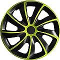 (Farbe und Größe wählbar) 15 Zoll Radkappen QUAD Bicolor (Schwarz-Grün) passend für fast alle Fahrzeugtypen - universell von Eight Tec Handelsagentur - Reifen Onlineshop