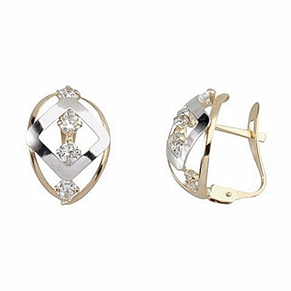 18k gold bicolor diamond earrings oval zircons Catalan [6681P]