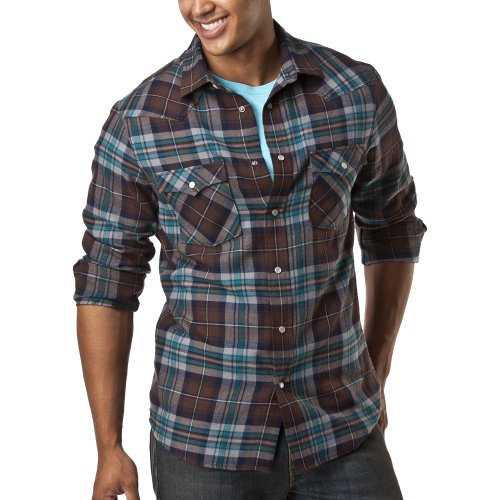 Mossimo® Western Flannel Shirt - Teal./Brown