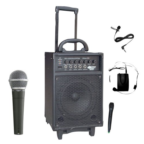 Pyle Mic And Speaker Package - Pwma370 300 Watt Dual Channel Wireless Rechargeable Portable Pa System With Handheld Mic And Lavalier/Headset Mic - Pdmic58 Professional Moving Coil Dynamic Handheld Microphone For Performances, Performers, Singers, Dancers,