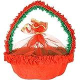 Akar Creations Velvet & Satin Ratnawali Basket (20 Cm X 5 Cm X 9 Cm, Red & Green)