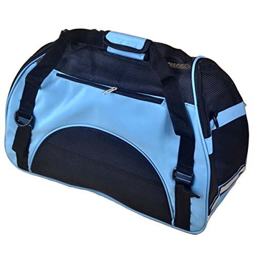 PetIQ Unique Hand-Crafted Designer Pet Carrier Bags,Tote & Bag for Cats & Dogs-Fashion Extra Pet Handbag (Blue, S)