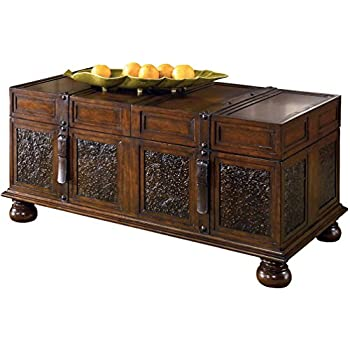 Ashley Furniture Signature Design - McKenna Coffee Table with Storage - Cocktail Height - Dark Brown