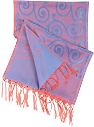Ethnic India Women's Art Silk Stole Blue & Red
