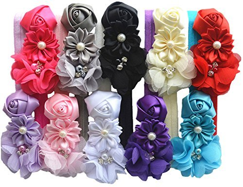 Qandsweet Baby Girl Headbands with Handmade Hair Bows Accessories