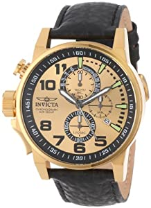 Invicta Men's 14475 I-Force Chronograph Gold Dial Black Leather Watch