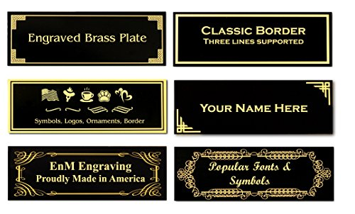 Gold Character Black Solid Brass Personalized Custom Laser Engraved Name Plate Label Art Tag for Frames Rectangular 0.875